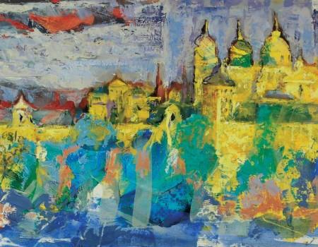 azules y amarillos en el escorial pintora aracely alarcon
