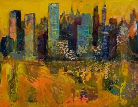 Luz roja en Manhattan pintora aracely alarcon