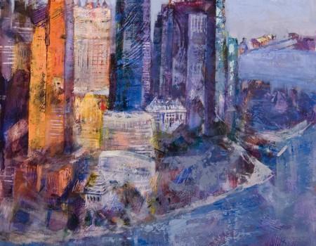 Luz azul en Manhattan pintora aracely alarcon